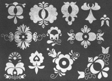Moravian folk ornaments on chalkboard