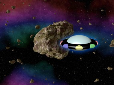 UFO in outerspace with asteroid