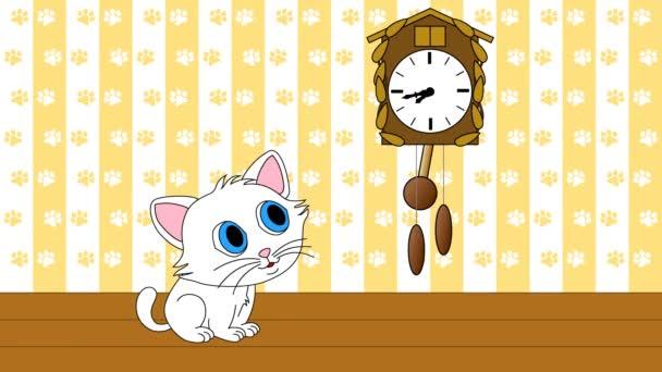 Kotě, sledování kukačky bezešvé smyčka video 4 k Uhd