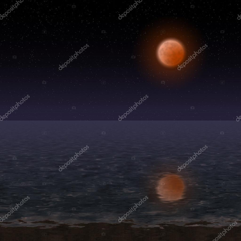 Night landscape with bloody moon