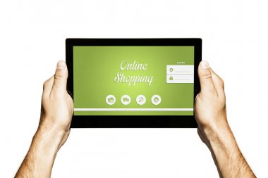 Online shopping website in a tablet.