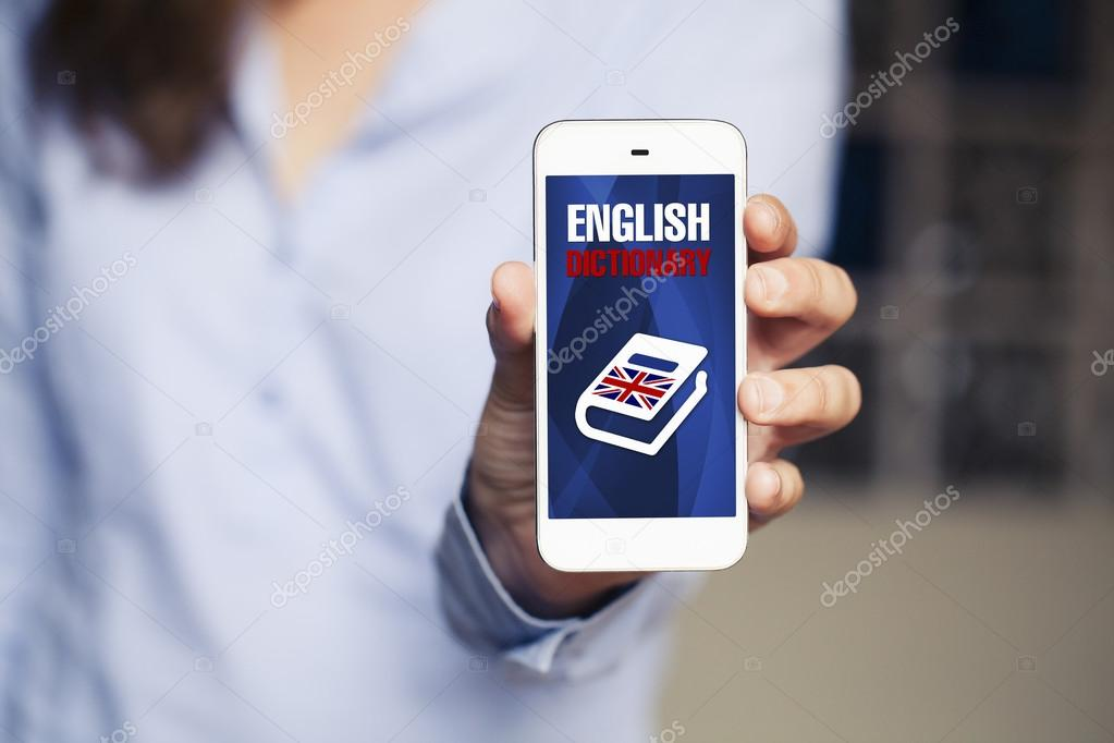 English dictionary app in a mobile phone  — Stock Photo