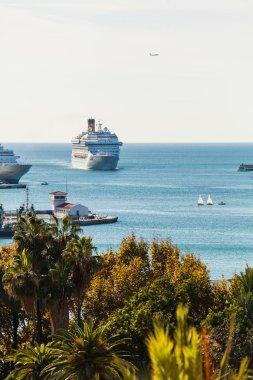 Luxury cruise ship arrivig at port.