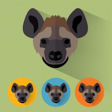 Animal Portrait with Flat Design - Hyena