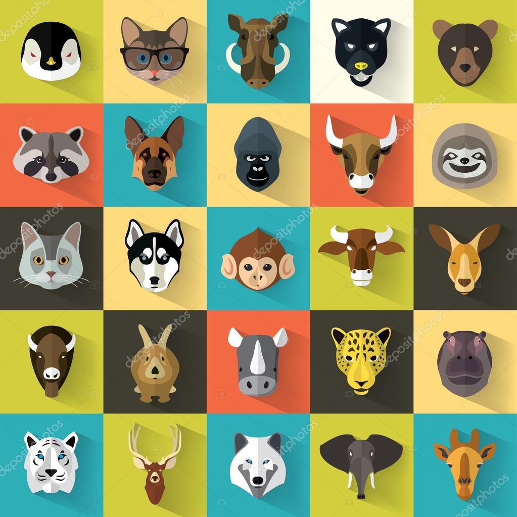 Animals Portrait Set with Flat Design stock vector