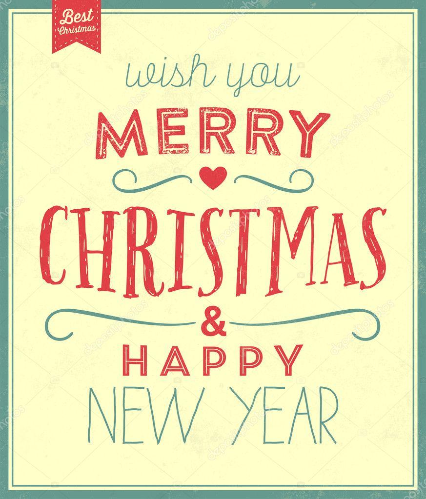 Vintage Weihnachten typografische Hintergrund — Stockvektor ...