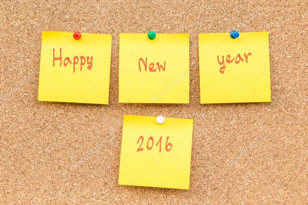 sticky blank note new year 2016 with space for text stock photo