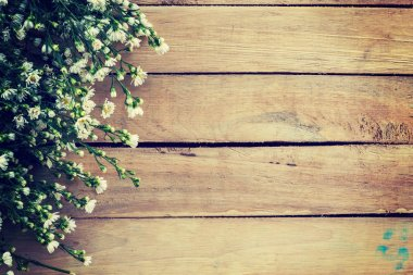 Flowers on wood texture background with copyspace. Vintage style