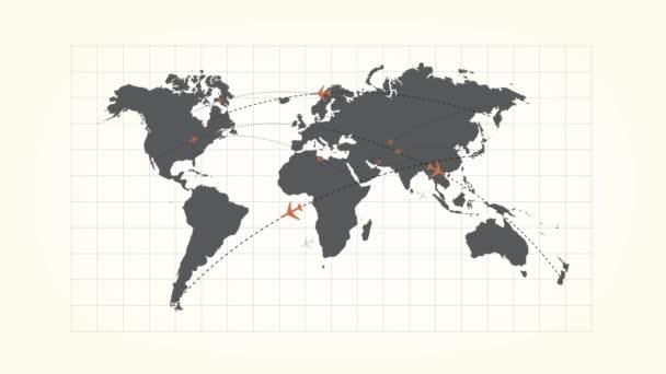 Globální připojení na mapě světa