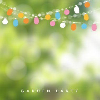 Birthday garden party or Brazilian june party, vector illustration with garland of lights, blurred background