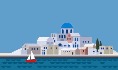 Mediterranean landscape by sea, Greek island with little town, village, resort, beach, flat design, vector