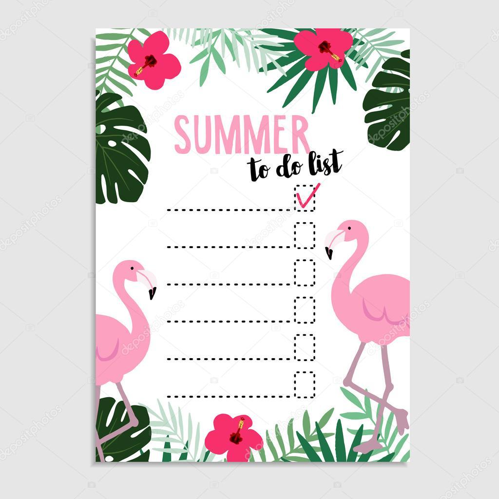 Verão Cartões Convite Lista De Desejos Pássaro De Flamingo