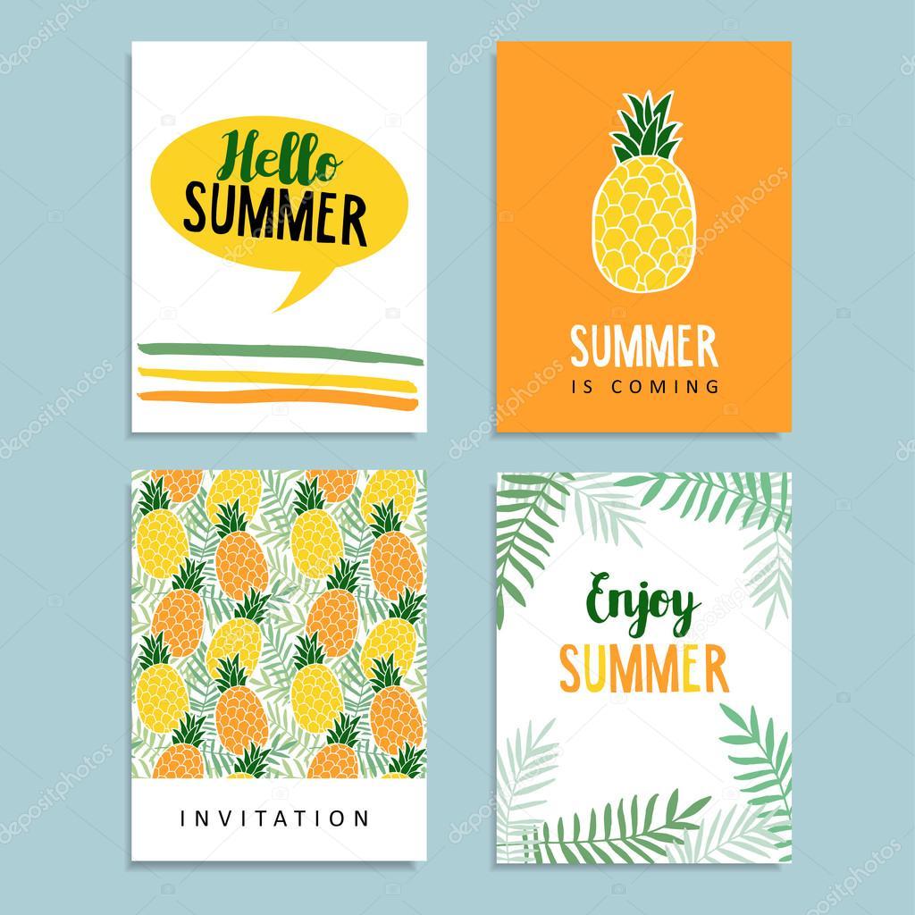 Satz Von Sommer Gruß, Journale Karten. Einladung Geburtstag.  Ananas Früchte, Laub Palm Background. Tropische Flache Desi U2014 Stockvektor  #109242276