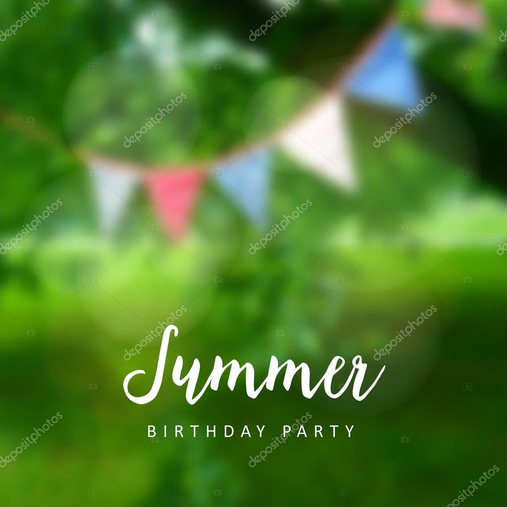 Birthday garden party. Brazilian june party. Festa junina. Party decoration, flags. Modern blurred background. Vector.
