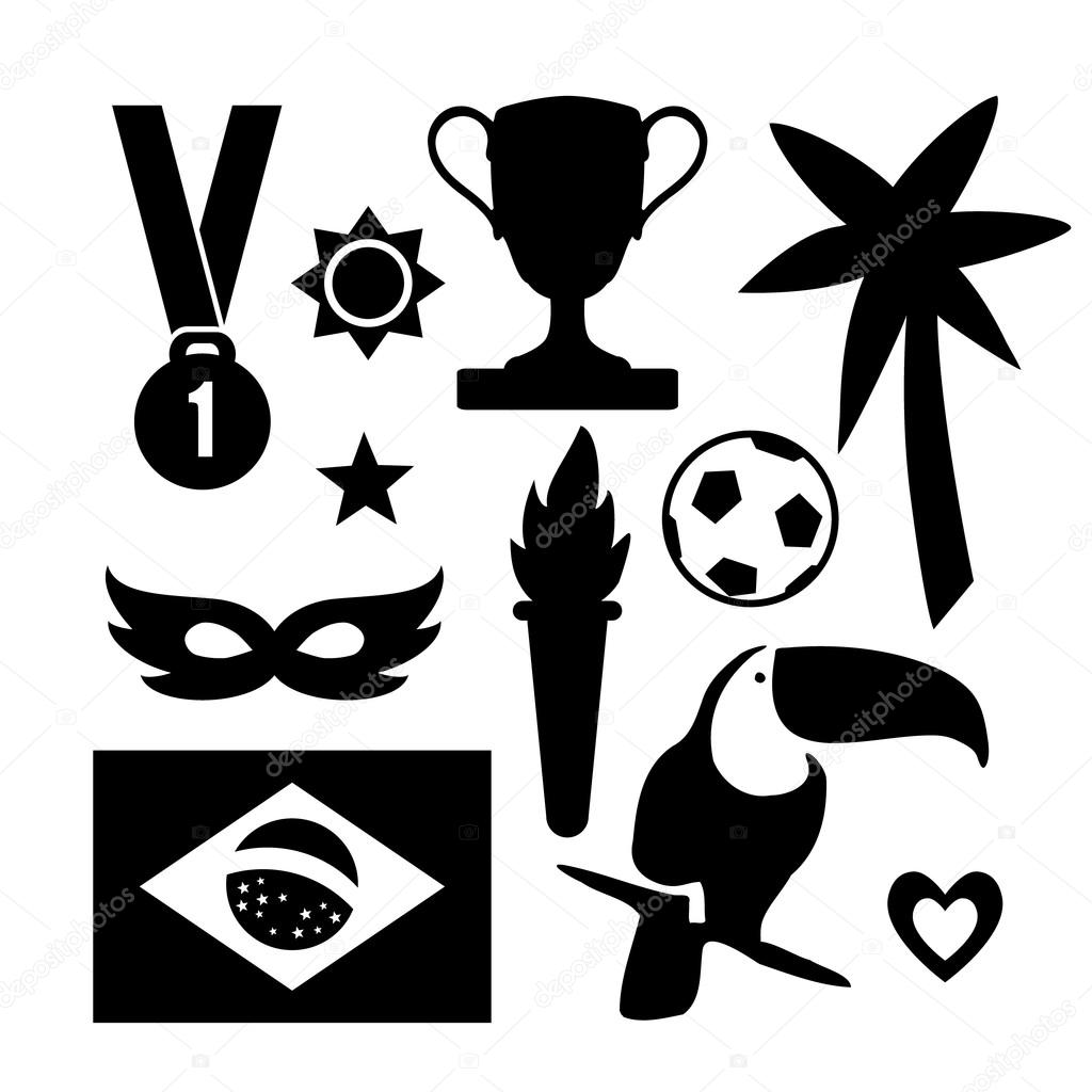 Set Of Brazilian Symbols Sport Icons Black Graphic Objects Vector