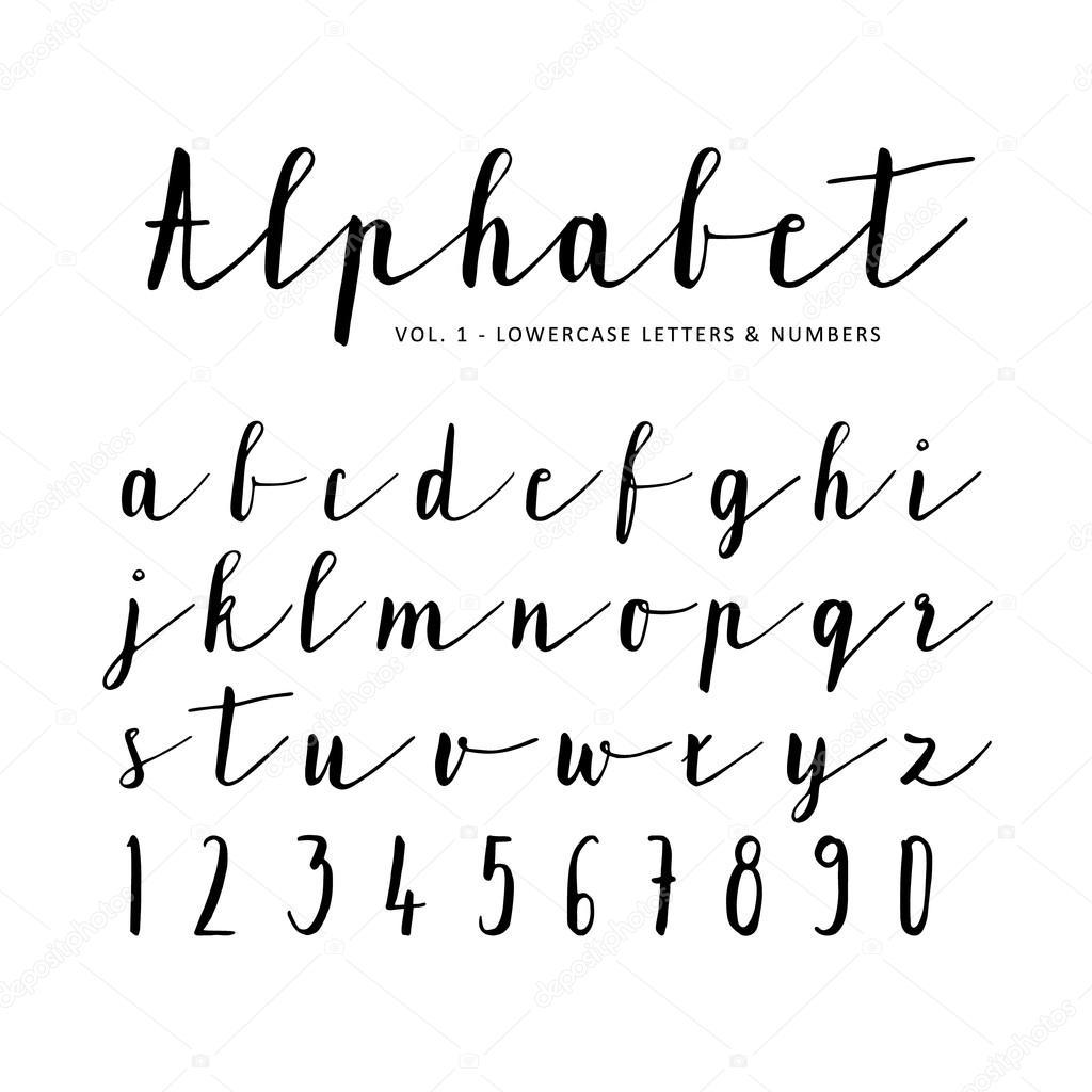 Die Hand Gezeichnete Vektor Alphabet Schrift Isolierten Buchstaben