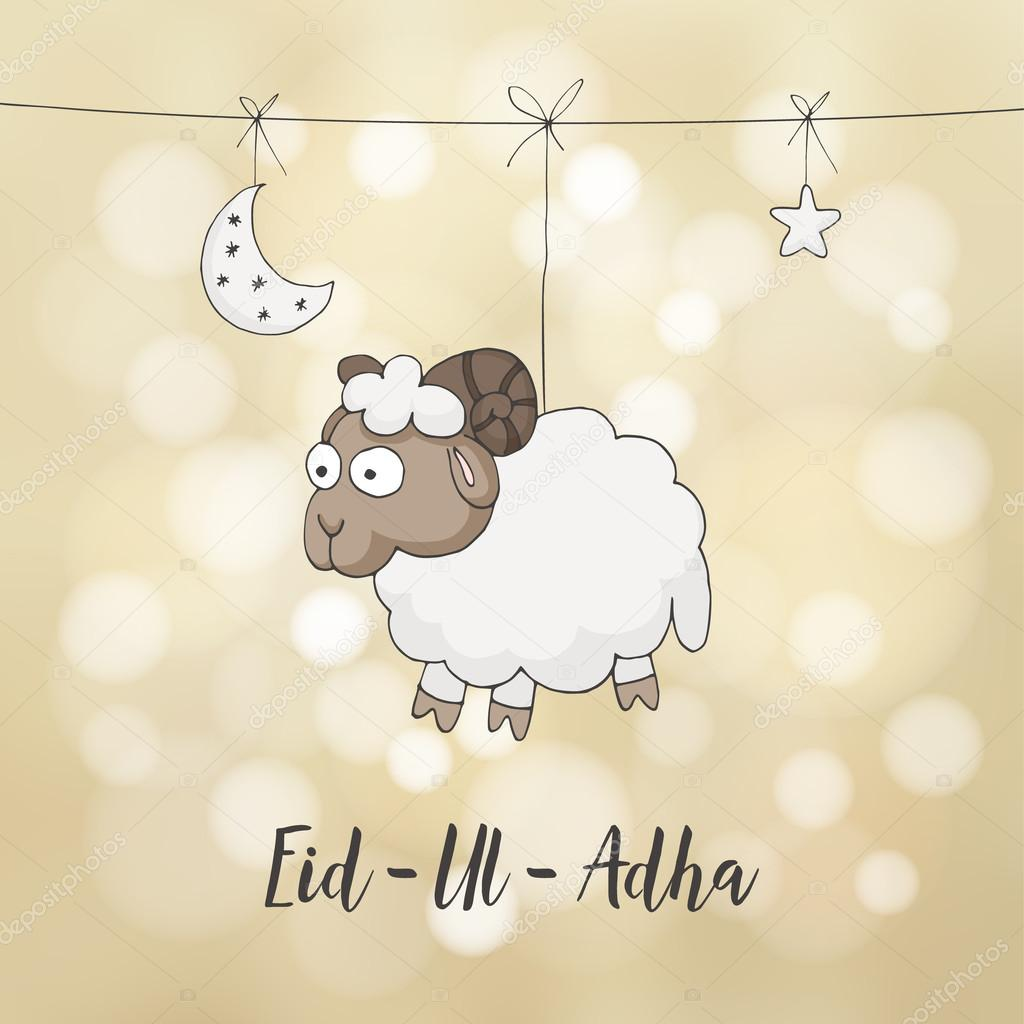 Eid ul adha greeting card decoration with hand drawn sheep moon eid ul adha greeting card decoration with hand drawn sheep moon stars and lights muslim community festival of sacrifice m4hsunfo