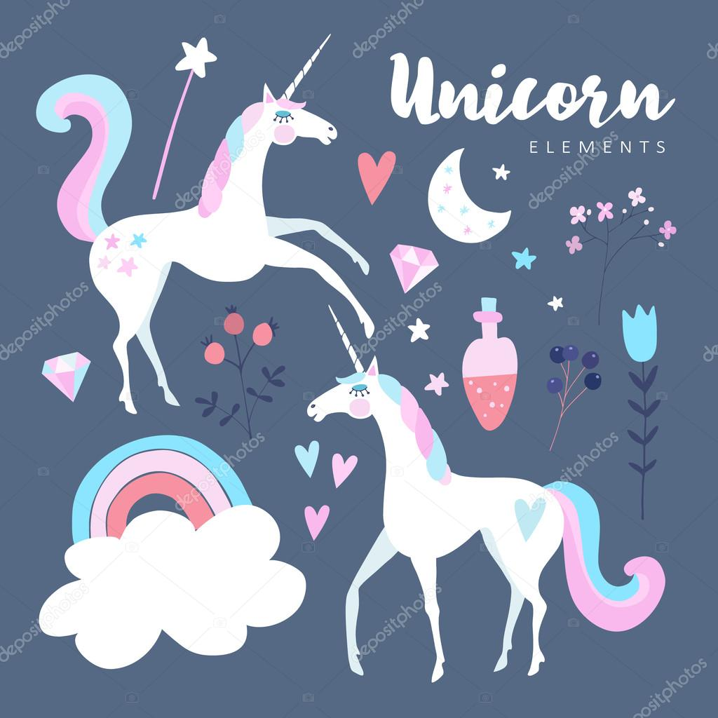 Fairytale elements. Unicorn with rainbow, stars, cloud, magic potion and flowers. Cute isolated vector objects, flat design.