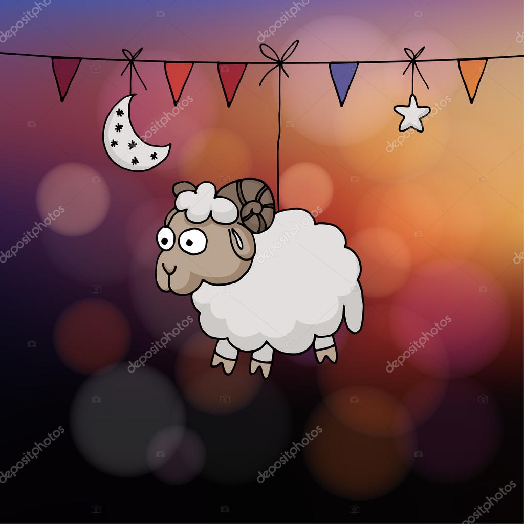 eid al adha card hand drawn sheep with party flags the moon and