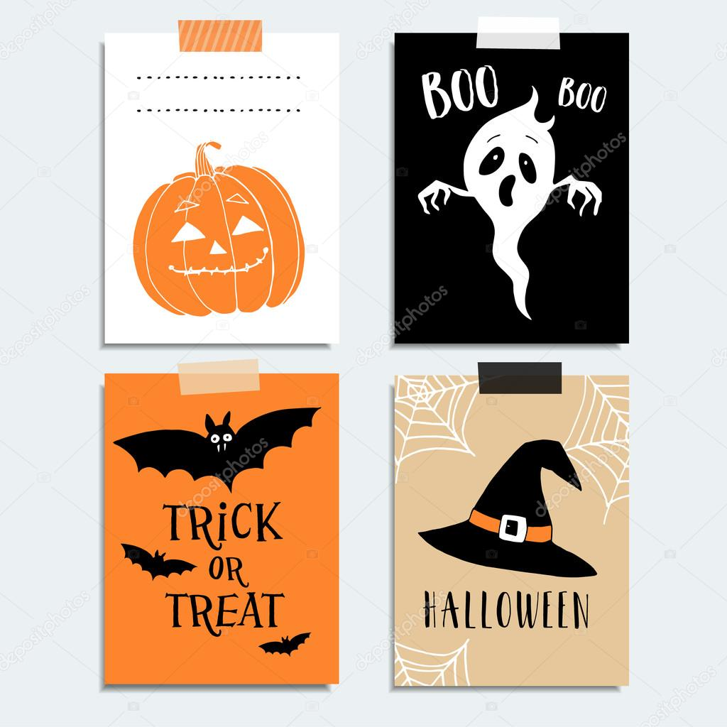 Cute Halloween party cards, invitations. Pumpkin, ghost, bat ...