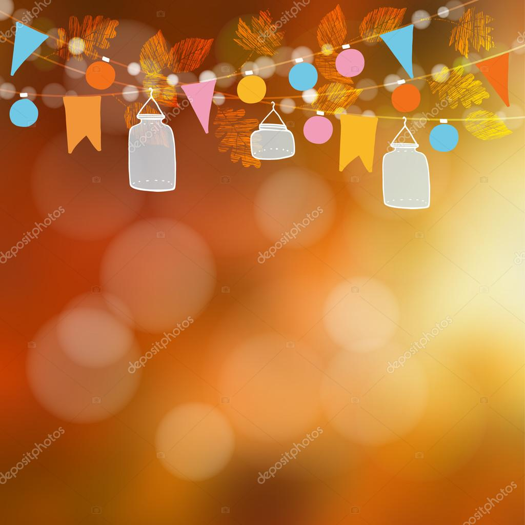 Autumn fall blurred card, banner. Garden party decoration. Vector illustration background with garland of oak, maple leaves