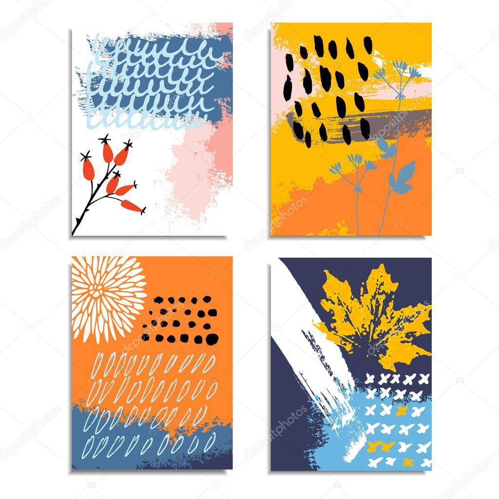Kunstlerische Abstrakte Handgezeichnete Karten Einladungen Im