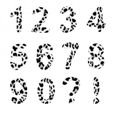 Vector alphabet numbers, exclamation and question mark, trendy leopard pattern, isolated vector elements clip art vector