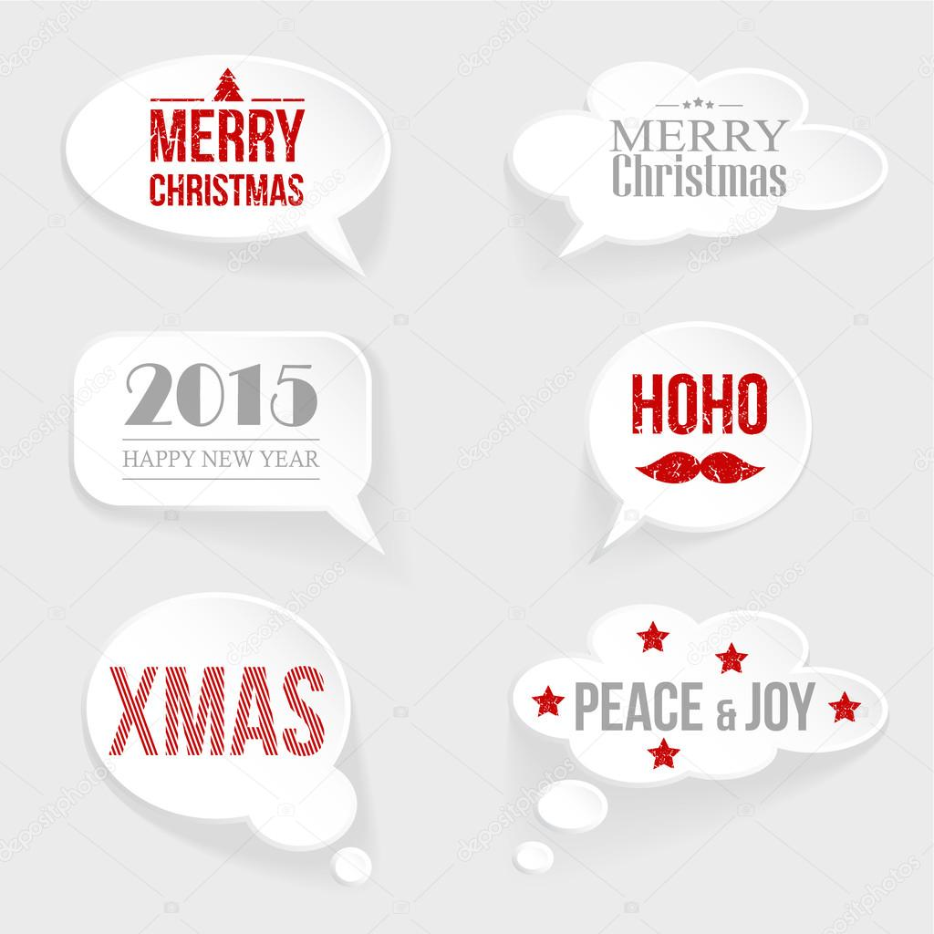 speech thought bubble set with christmasnew year messages stock vector