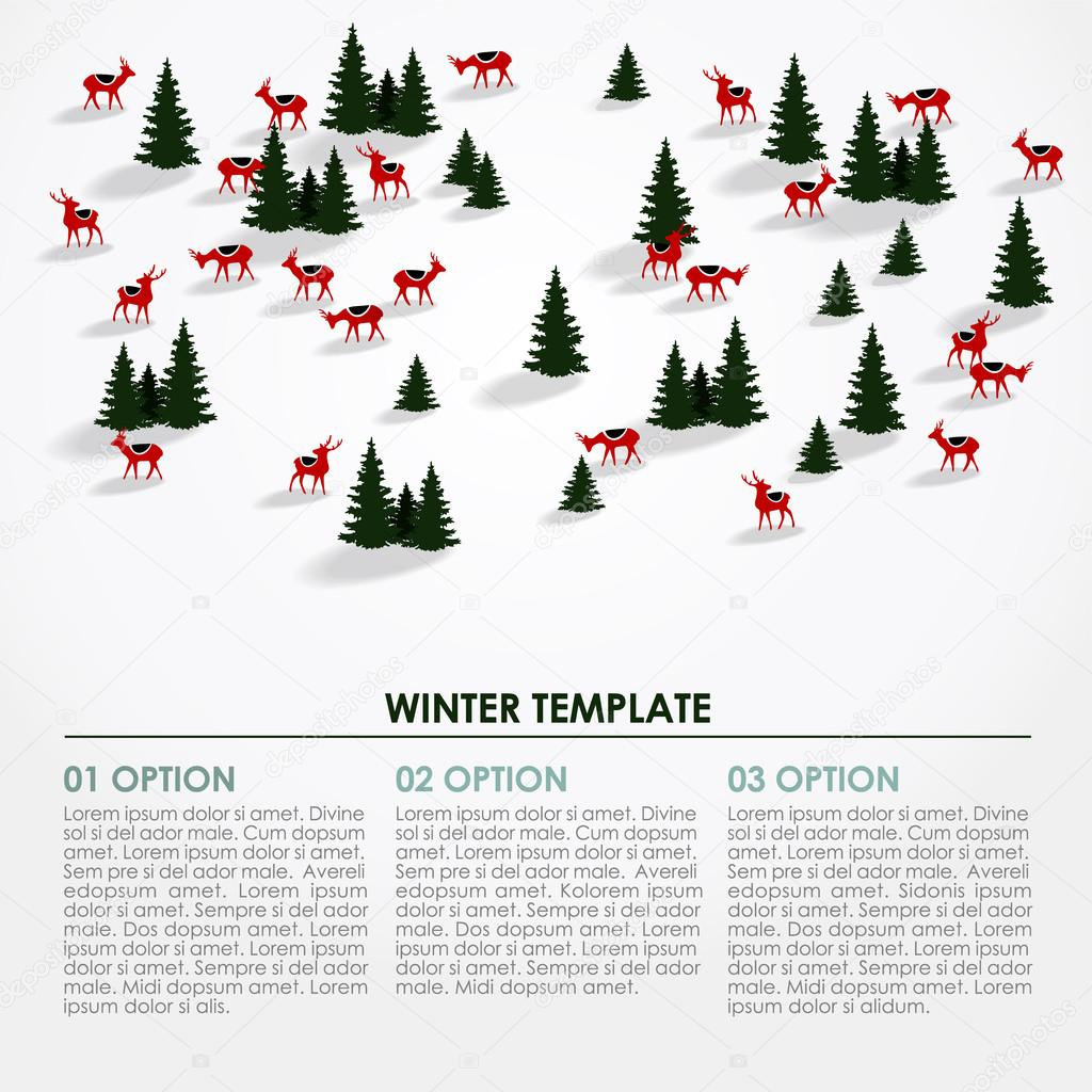 Christmas winter infographics background, snowy landscape, deers