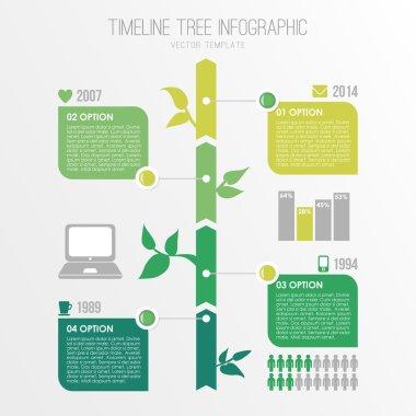 Timeline tree infographics template, eco nature design, vector illustration background clip art vector