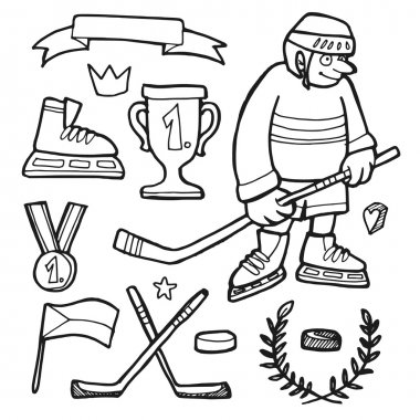 Set of comic hand drawn ice hockey doodle sketches, vector