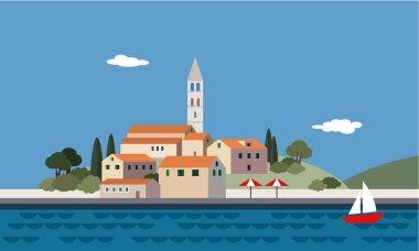 Mediterranean landscape by sea, little town, resort, beach, vector