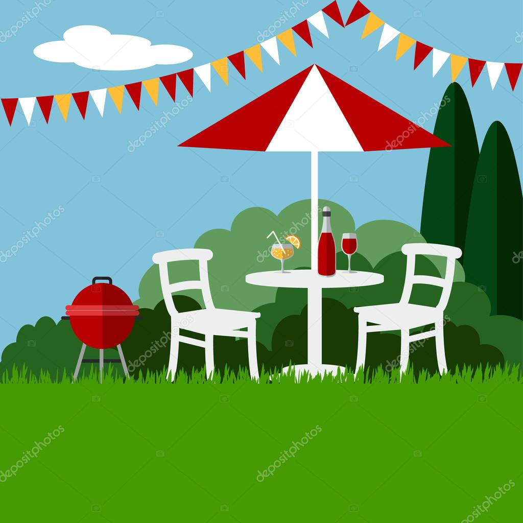 Summer garden party barbecue background, flat design, vector
