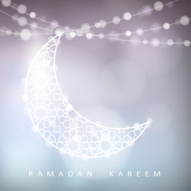 Ornamental moon with bokeh lights, Ramadan, vector