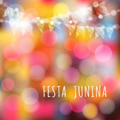 Brasilianische Juniparty, Vektorhintergrund, Lichter und Fahnen