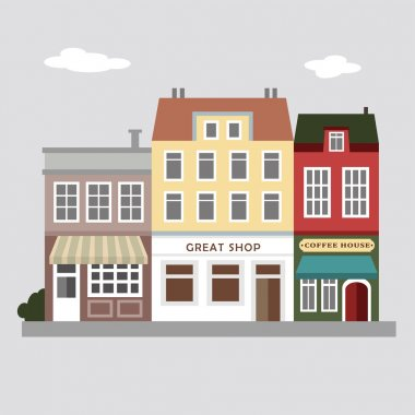 Set of cute colorful stores, houses, urban vector illustration