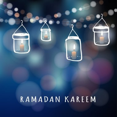 Illuminated jar lanterns with candles and lights, Ramadan vector