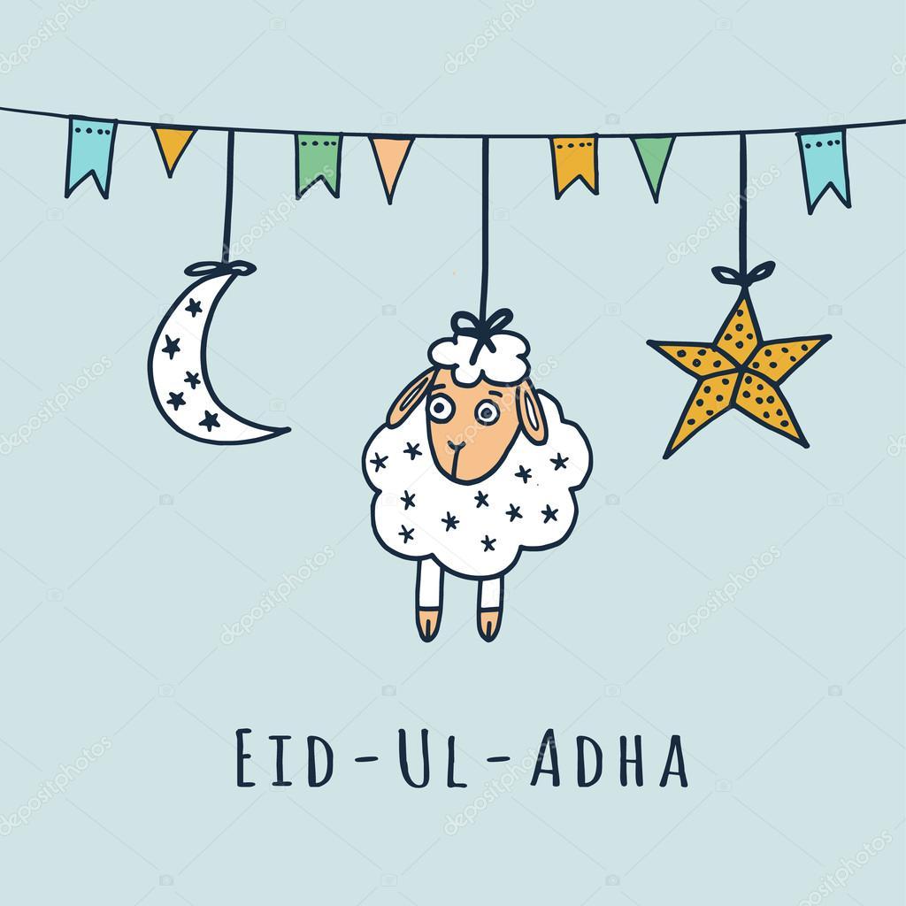Eid Ul Adha Greeting Card With Sheep Moon Star Vector Stock