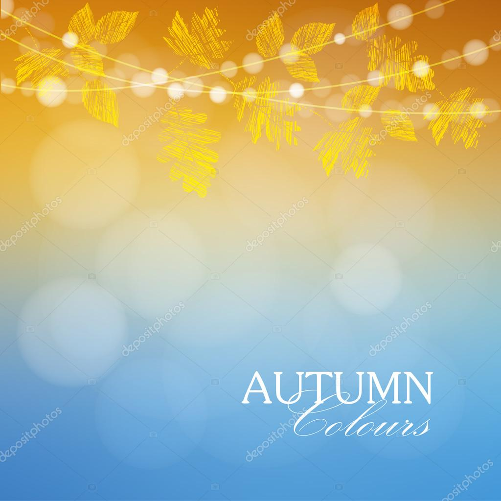 Autumn, fall background with maple and oak leaves and lights, vector
