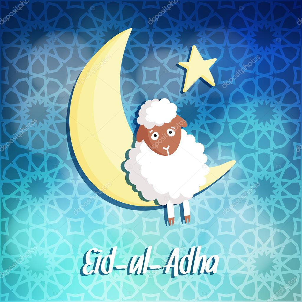 Eid Ul Adha Greeting Card With Sheep Moon And Star Vector Stock