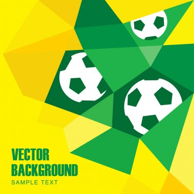 Polygon soccer football background with balls in Brazilian colors