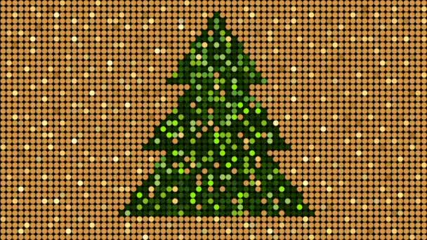 Christmas golden glitter pattern with christmas tree, seamless loop background, flash 2D animation