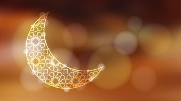 glitzernder Ziermond mit Bokeh-Effekt, aufklappbare Ramadan-Grafik-Animation