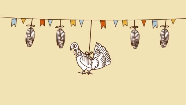 Priorità bassa di giorno del ringraziamento con mais disegnati a mano, bandiere Turchia e partito, sfondo ciclo senza cuciture