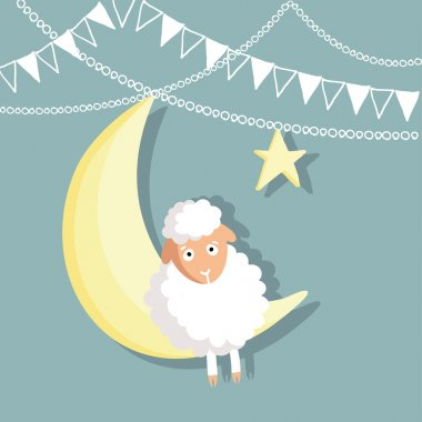Eid-ul-adha greeting card with sheep, moon, star and flags