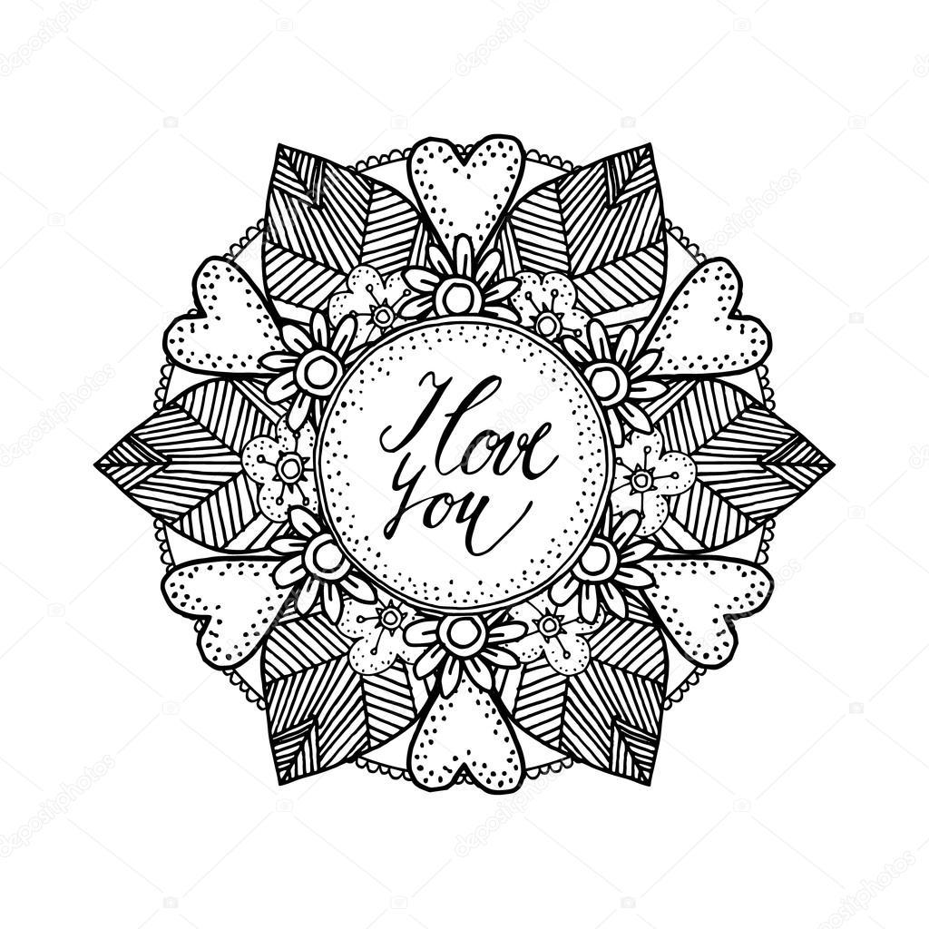 Ornamentale Valentino O Partecipazione Di Nozze Con Disegnato A Mano