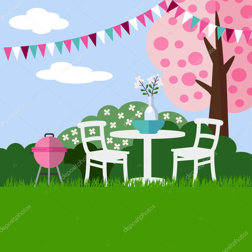 Spring garden party barbecue background with blossoming cherry tree, flat design, vector