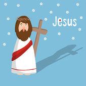 Fotografie Ostern-Grusskarte, Einladung mit Jesus Christus und Kreuz, Vektor