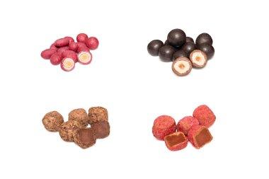 Set of sweets on white background. Almond, hazelnut chocolate and truffles. Handmade candies