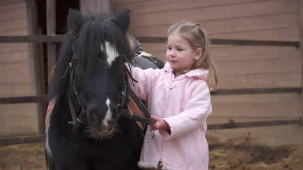Ein schönes Mädchen bleibt mit einem Pony. Kind passt auf das Haustier auf. Ein Mann und ein Pferd auf der Ranch spazieren in einer Koppel mit Zügeln.